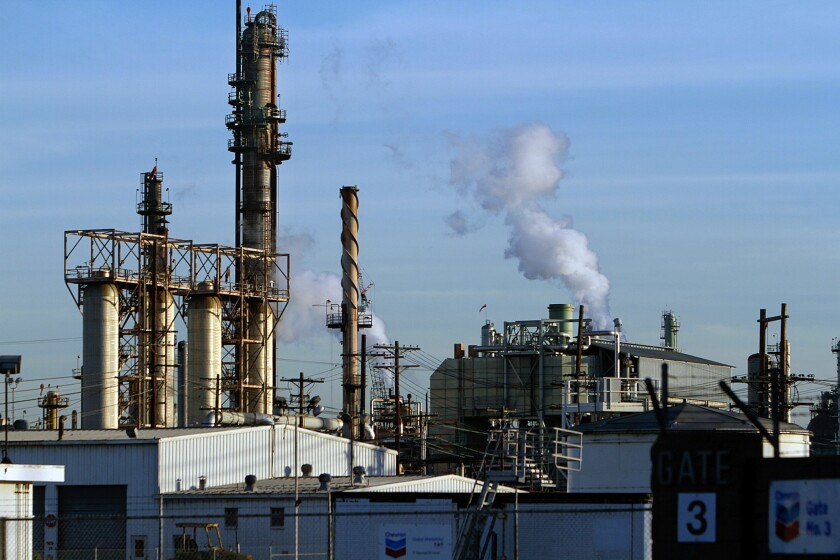 Chevron operates two major California refineries, including the one in El Segundo, seen here. It's one of the fossil fuel companies facing litigation.