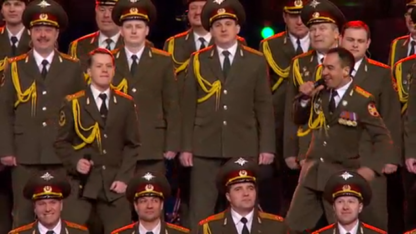 """The Russian Internal Affairs choir sings Daft Punk's """"Get Lucky"""" at the Sochi Olympics opening ceremony."""