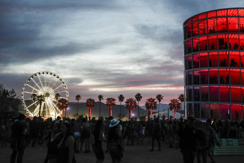 Sunset over the Coachella festival grounds Saturday.