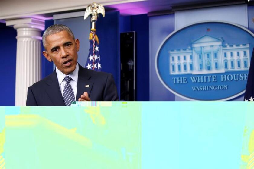 El presidente de Estados Unidos, Barack Obama, durante una conferencia de prensa en la Casa Blanca, Washington (Estados Unidos). EFE/Archivo