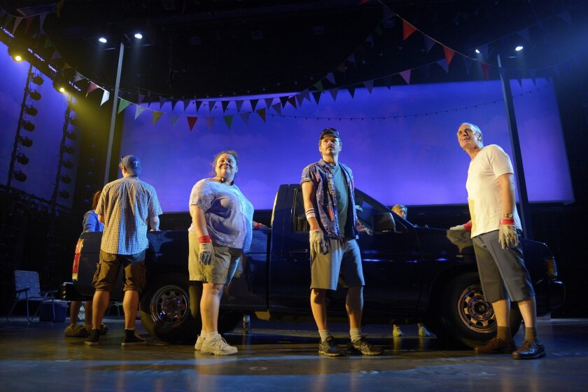 """Jay Armstrong Johnson, Keala Settle, Hunter Foster and Keith Carradine (left to right) in La Jolla Playhouse's world-premiere, commissioned musical """"Hands on a Hardbody."""""""