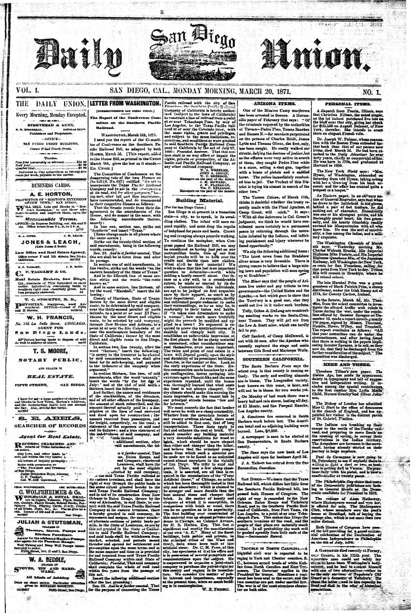 Front page of the first Daily San Diego Union, published March 20, 1871.