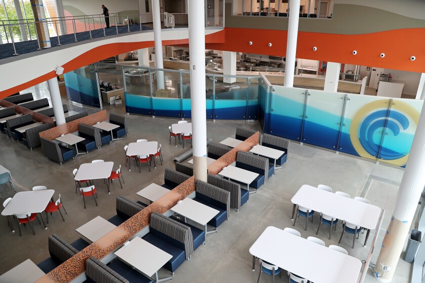 The cafeteria in the new College Center building at Orange Coast College.