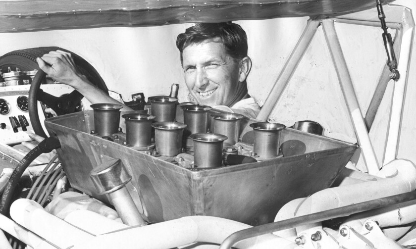 In October 1968, Dick Guldstrand sits in a new car created by Hans Adams that he planned to drive in the ninth annual Times Grand Prix for Sports Cars at Riverside International Raceway.