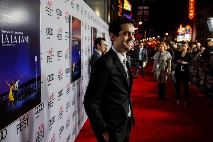 """La La Land"" writer-director Damien Chazelle arrives at the AFI Fest premiere of his film."