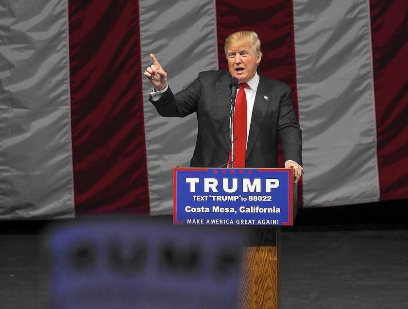 Republican presidential candidate Donald Trump speaks during an April 28 campaign rally in Orange County