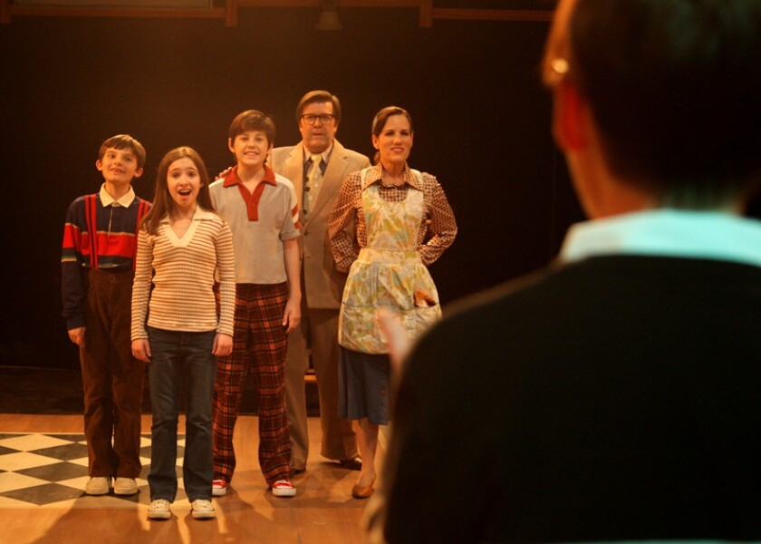 """Seemingly picture-perfect: The """"Fun Home"""" family as portrayed by, from left, Christopher Patow, Holly Reichert, Reese Hewitt, Ron Hastings and Jennifer Richardson."""