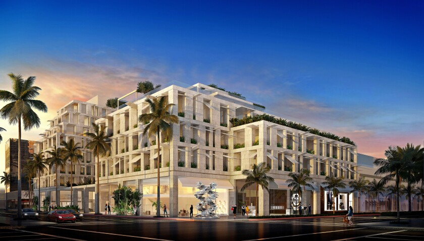 The proposed Cheval Blanc Beverly Hills, a five-star hotel to be developed at the intersection of Little Santa Monica Boulevard (left) and Rodeo Drive in Beverly Hills.