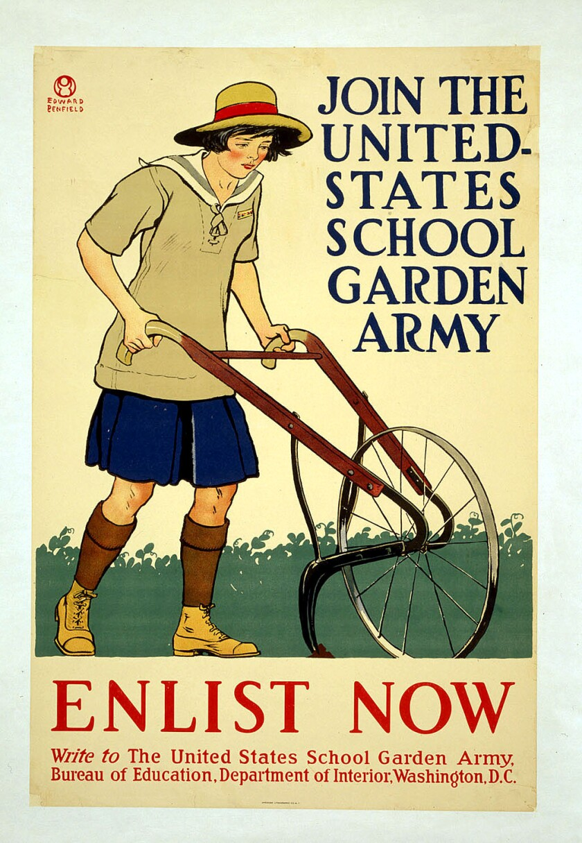 """Even children were recruited to """"fight"""" in World War I, as part of the United States School Garden Army."""