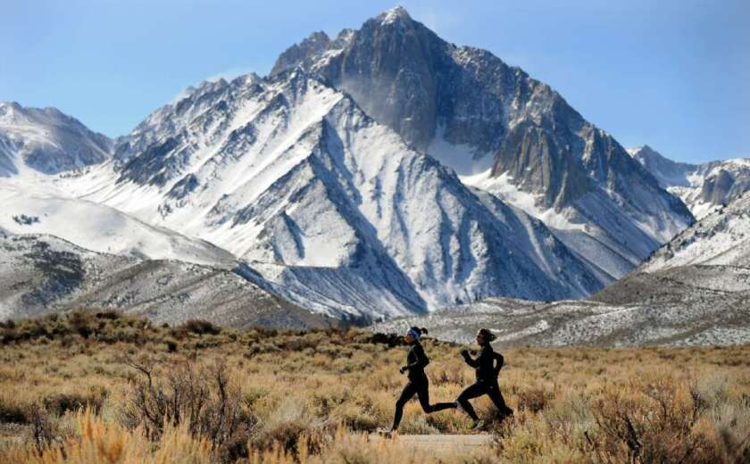 In this 2012 photo, runners take to a trail in the Mammoth Lakes region in California's Eastern Sierra.