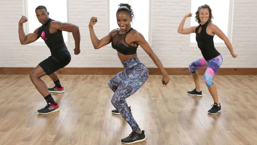 Celebrity trainer JJ Dancer in Class FitSugar Flat Belly and Tight Booty Cardio Dance Workout. Credi
