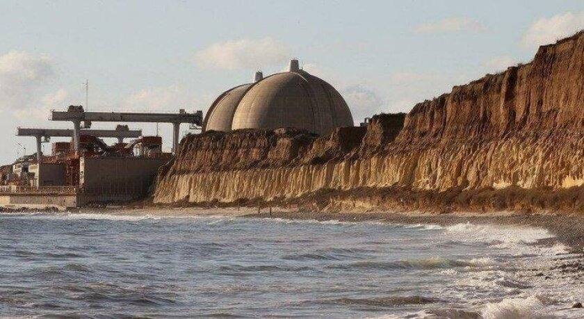 An exterior view of the shuttered San Onofre plant.