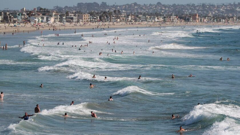 A look south toward Mission Beach from Crystal Pier in Pacific Beach in San Diego