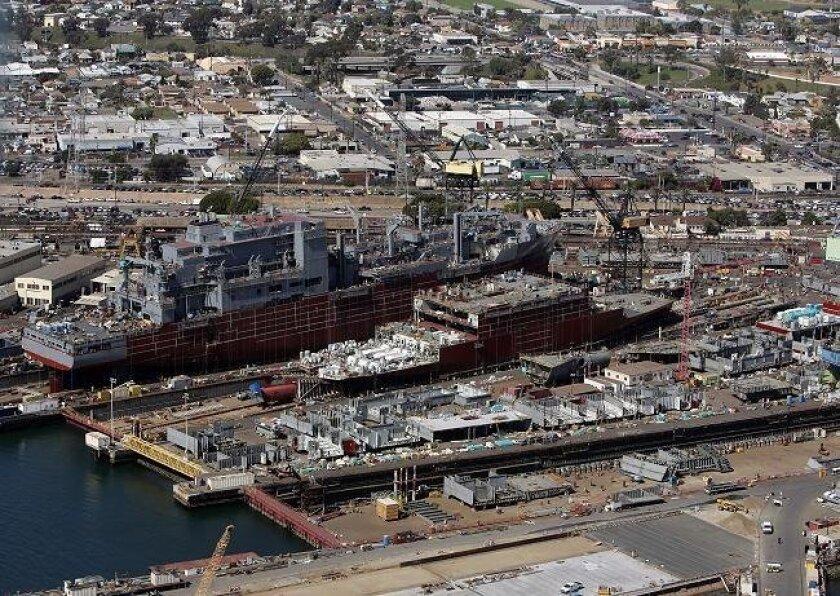 Aerial view of NASSCO Shipyard.