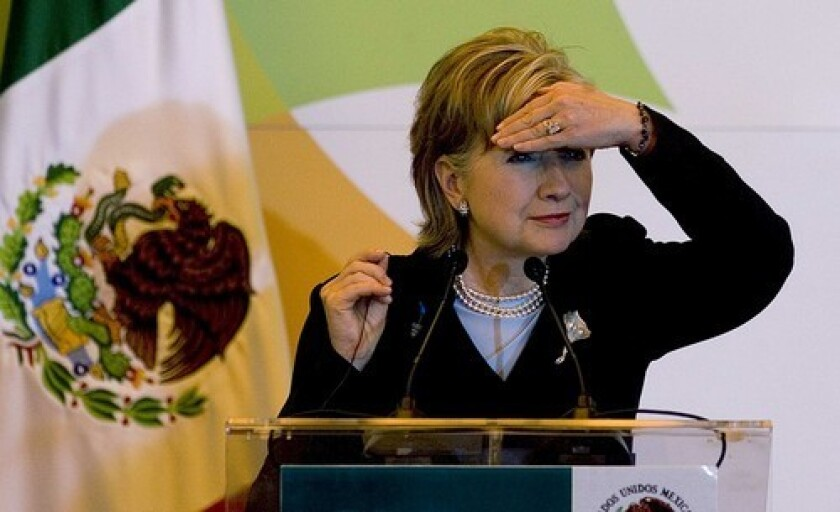 U.S. Secretary of State Hillary Rodham Clinton at a news conference in Mexico City. Thursday she is to visit the northern city of Monterrey, a business hub.