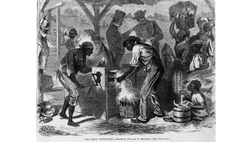 Slaves are depicted working an early cotton gin in an 1869 illustration from Harper's Weekly.
