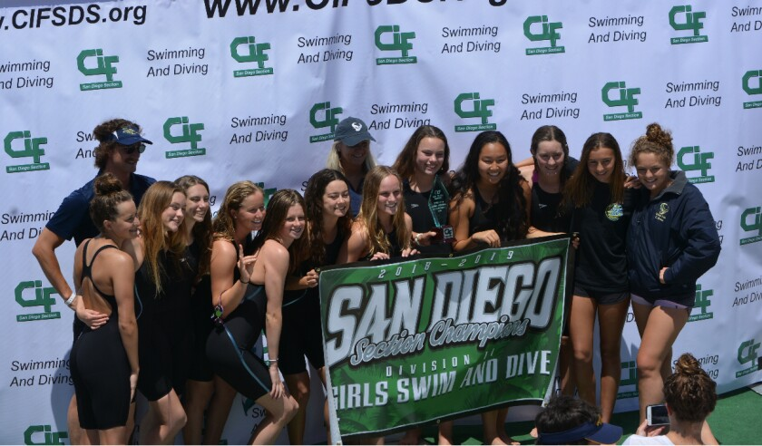 The La Costa Canyon girls swim team won the CIF championship in 2019.