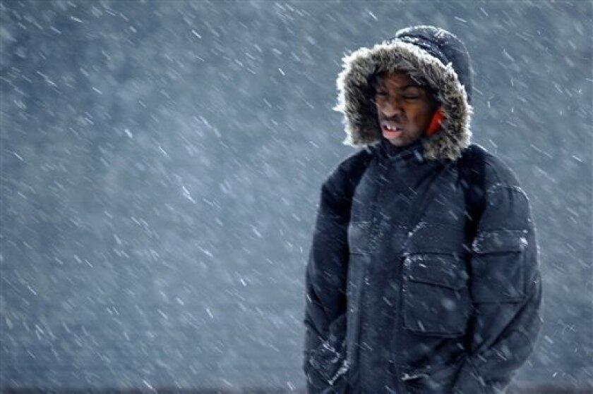 A person walks through snow during a winter storm in Philadelphia, Friday, Jan. 7, 2011. (AP Photo/Matt Rourke)