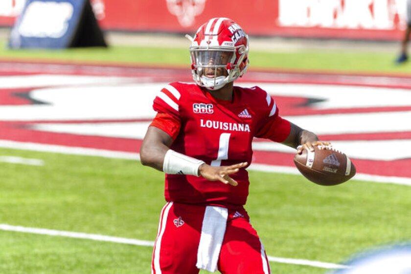 Louisiana-Lafayette quarterback Levi Lewis throws a pass against Georgia Southern during an NCAA college football game, Saturday, Sept. 26, 2020, Lafayette, La. Louisiana-Lafayette won 20-18. (Scott Clause/The Daily Advertiser via AP)