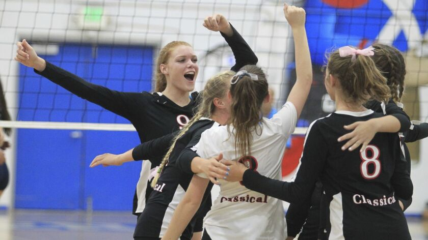 Classical Academy celebrates their win over Steele Canyon during a San Diego Section Division II hig