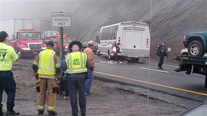 This image provided by WXII Channel 12 news,  shows the scene following a 75-vehicle pileup on Interstate 77 near the Virginia-North Carolina border in Galax, Va., on Sunday, March 31, 2013. Virginia State Police say three people have been killed and more than 20 are injured and traffic is backed u