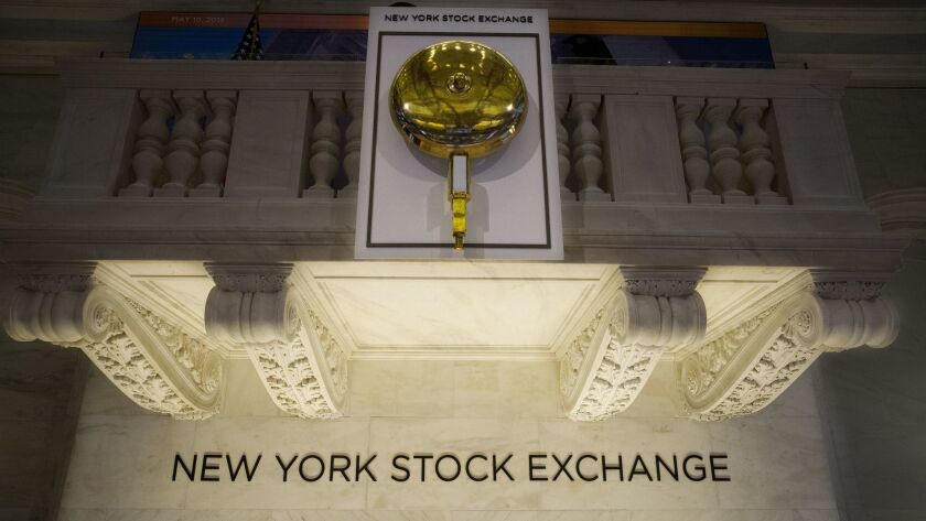 The opening bell hangs above the trading floor at the New York Stock Exchange.