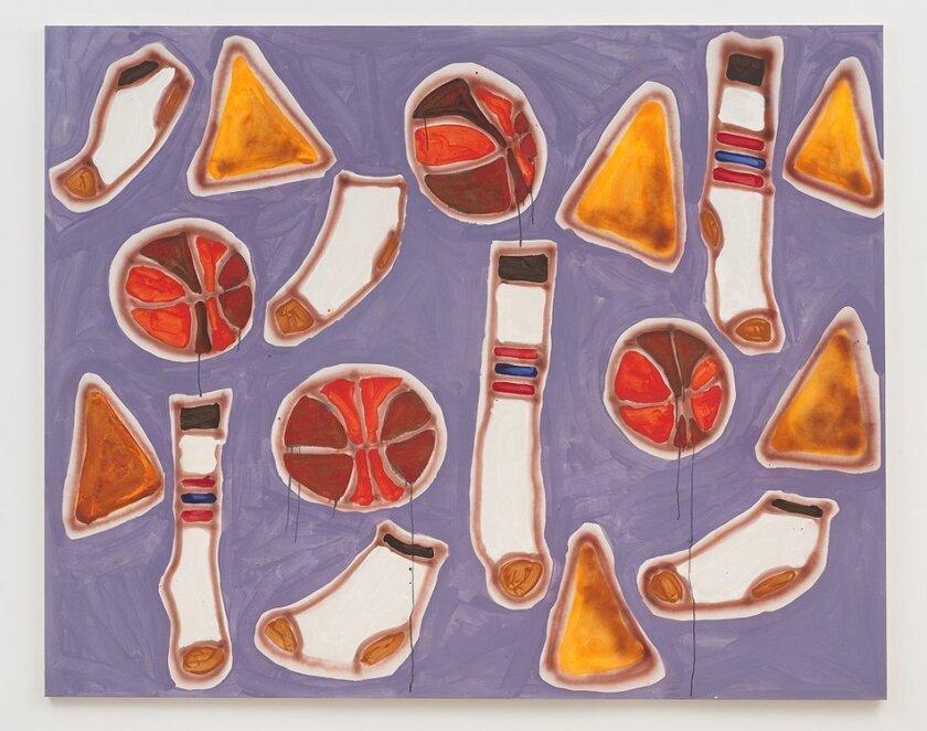 "Katherine Bernhardt, ""Doritos, Socks and Basketballs,"" 2014, acrylic and spray paint on canvas"