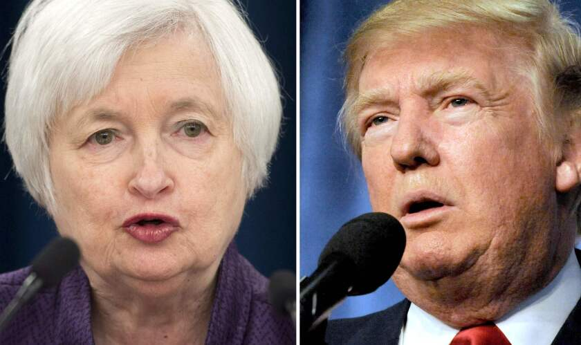 This combination of file photos shows Federal Reserve Board Chairwoman Janet L. Yellen and President-elect Donald Trump.