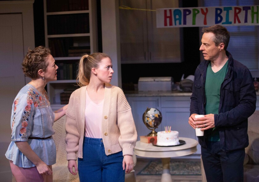 "A college student (Sydney Berk, center) unearths shattering truths about her biological parents (Melanie Cruz and Michael Polak) in ""Never Not Once"" at the Rubicon."