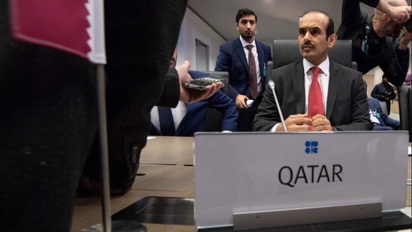 Qatar's minister of state for energy affairs, Saad Sherida Al-Kaabi, attends the OPEC conference in Vienna on Thursday.