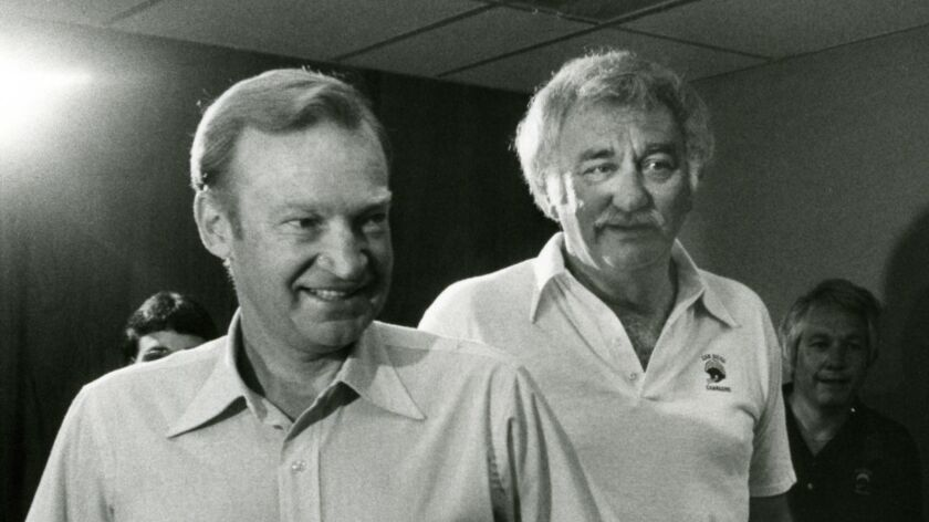 Don Coryell (left), shown on the day he was hired as Chargers coach by team President Gene Klein in September 1978.