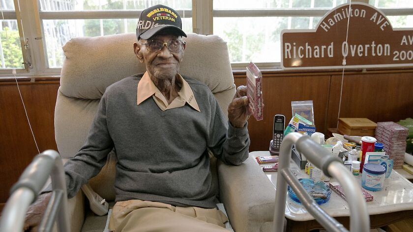 In this May 10, 2018 photo Richard Overton, the oldest living U.S. Veteran at the age of 111, is bac