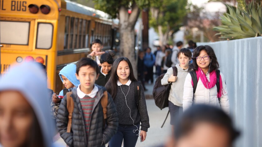 Students head to Thomas Starr King Middle School in East Hollywood on a December morning last year.