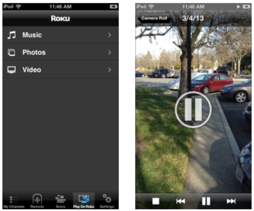 Roku updated its Apple iOS app this week with a feature that streams video stored on the device on users' TVs.