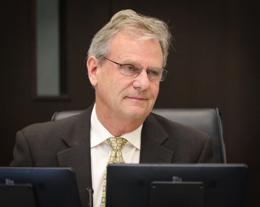 San Diego County Supervisor Jim Desmond photographed January 28, 2020 during a Board of Supervisors meeting at the San Diego County Administration Center.