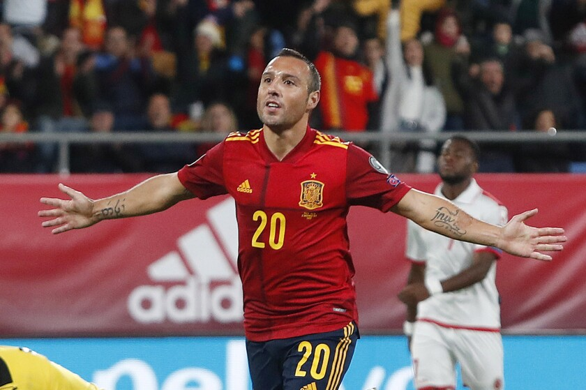 FILE - In this Friday Nov. 15, 2019 file photo, Spain's Santi Cazorla celebrates after scoring his side's second goal during a Euro 2020 Group F qualifying soccer match between Spain and Malta at the Ramon de Carranza stadium in Cadiz, Spain. Qatari club Al-Saad said Monday July 20, 2020, it has signed former Spain and Arsenal playmaker Santi Cazorla. (AP Photo/Miguel Morenatti, File)