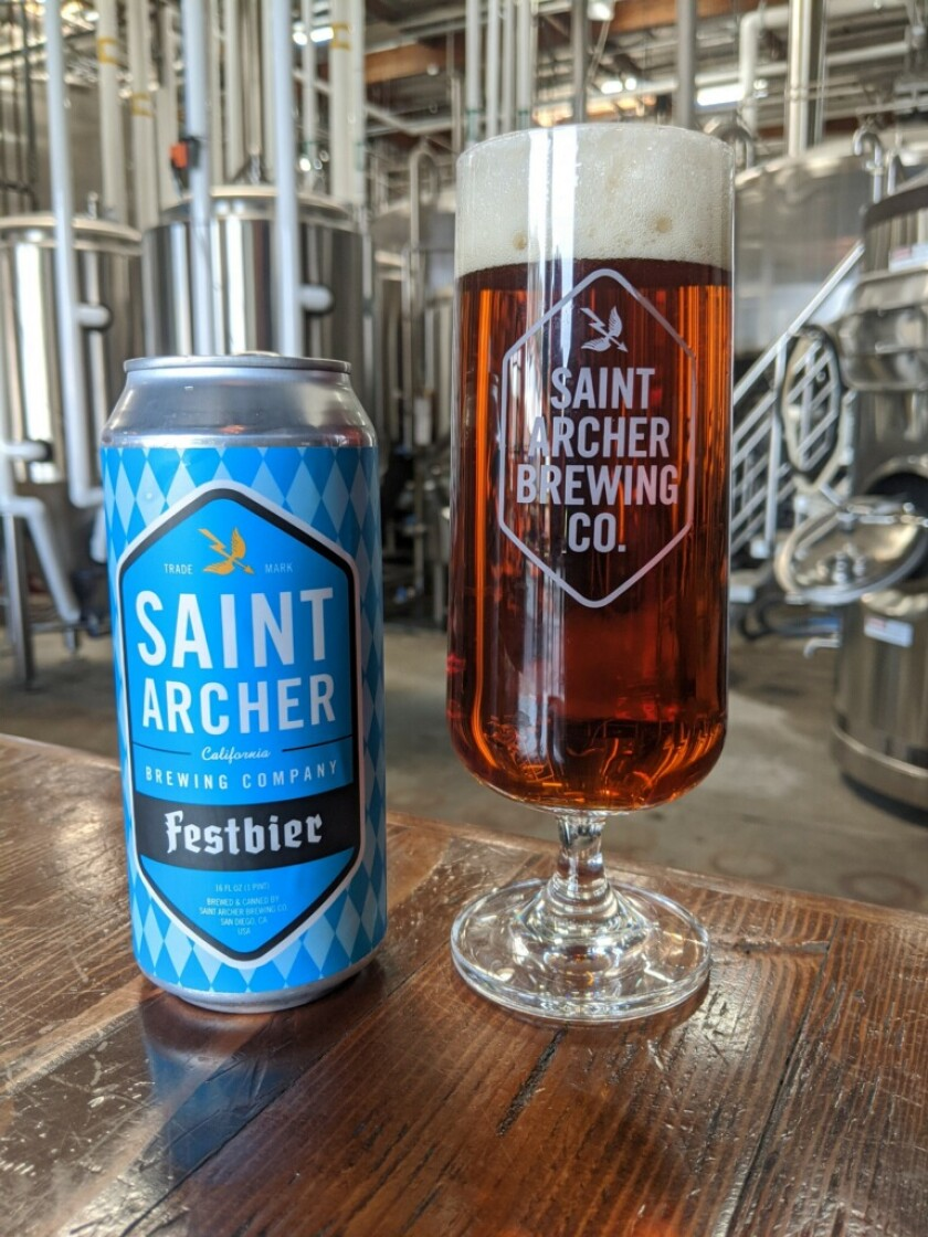Saint Archer Brewery's Festbier is available in a four-pack of 16 ounce cans