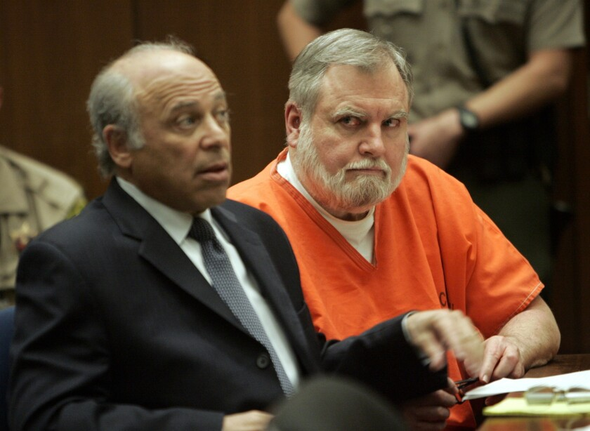 Former Catholic priest Michael Baker, right, at his sentencing in December 2007. At the time, the Los Angeles Archdiocese, where much of his abuse occurred, was issuing checks to hundreds of alleged abuse victims.