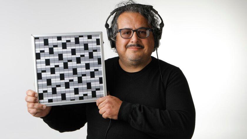 SAN DIEGO, CA: MARCH 1, 2018: Roberto Romero-Molina is a visual artist who created the mixed media i