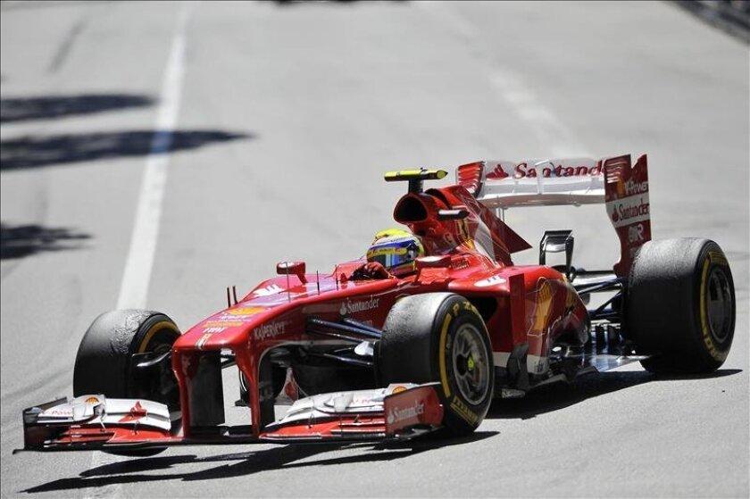 El piloto brasileño de Ferrari Felipe Massa en acción antes del accidente que le hizo abandonar el Gran Premio de Mónaco. EFE