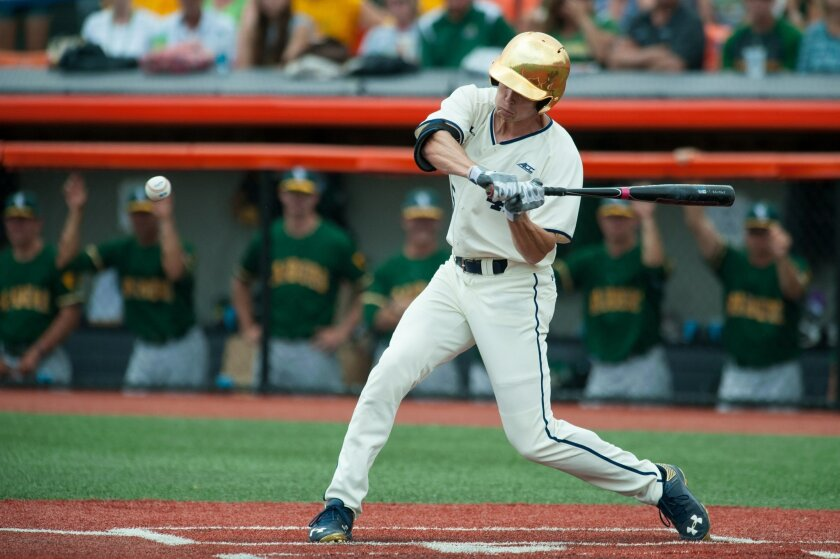 Notre Dame's Robert Youngdahl singles during the second inning against Wright State during the Champaign Regional of the NCAA college baseball tournament in Champaign, Ill., Friday, May 29, 2015. (AP Photo/Bradley Leeb)
