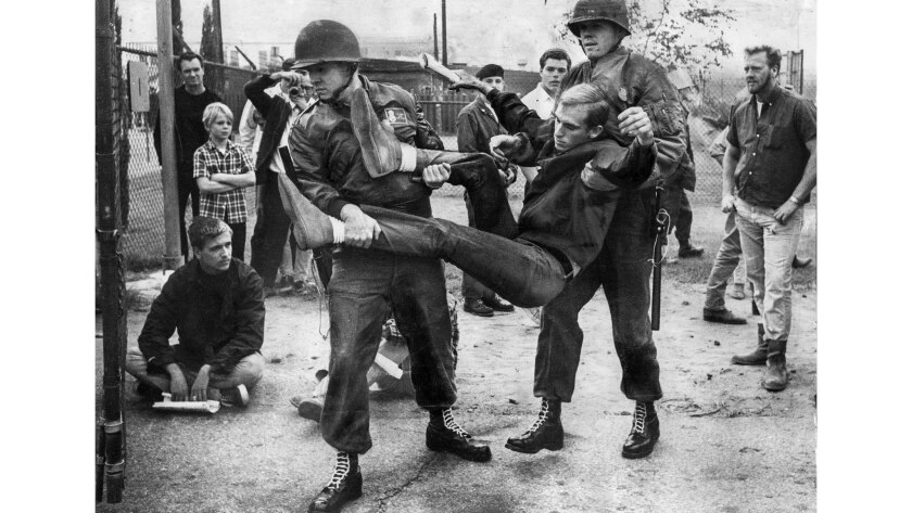 Nov. 5, 1966: Vietnam War protester is arrested after refusing to obey orders to leave federal property at California Air National Guard Base in Van Nuys.