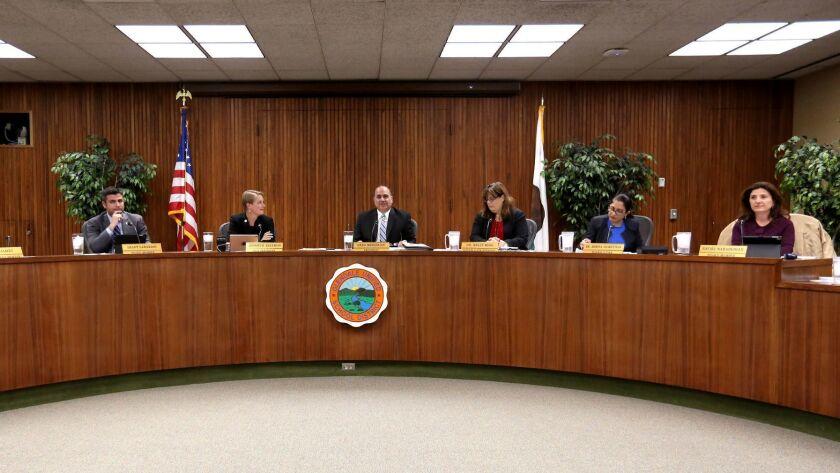 The Glendale Unified School District board members, from left, student board member Sophia James, me
