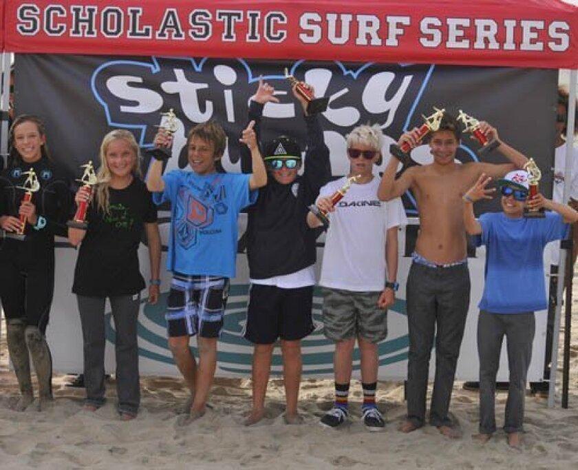 The Muirlands Middle school surf team includes Tiare Thompson, Maddie Perreault, lorenzo Villela, Matthew Perreault, Braden chalfant, Ben Barone and Luke Hartman. The team wins big at its first scholastic surf series meet. Courtesy