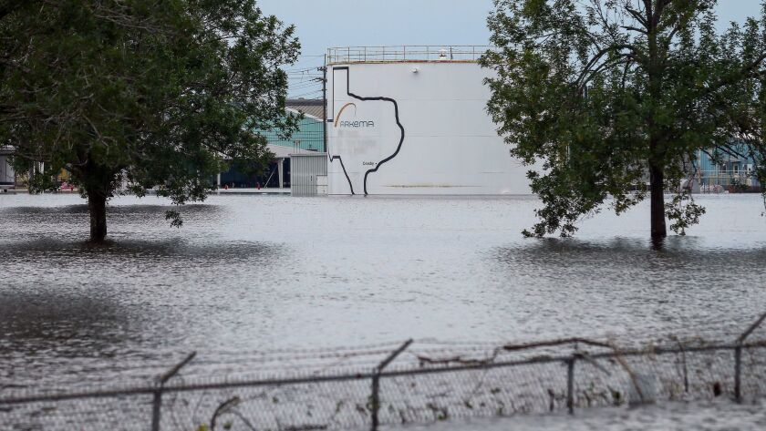 The Arkema Inc. chemical plant is flooded from Tropical Storm Harvey, Wednesday, Aug. 30, 2017, in C