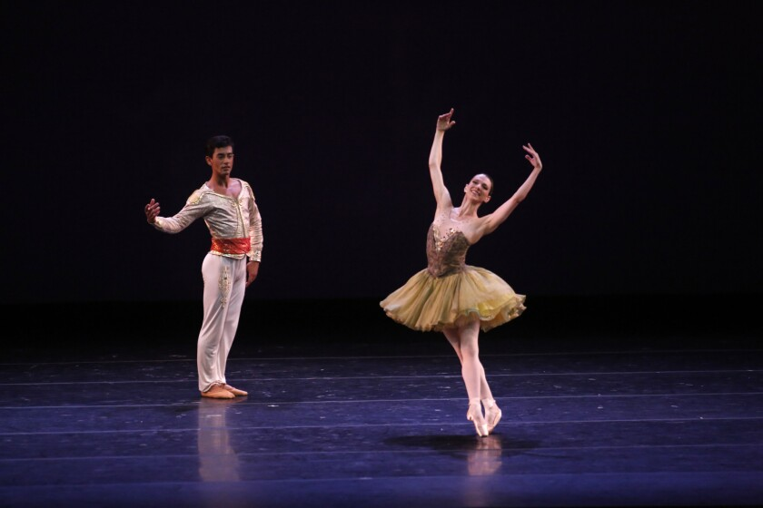 Kleber Rebello from Brazil and Luciana Paris from Argentina perform Saturday night at the Dorothy Chandler Pavilion as part of BalletNow.