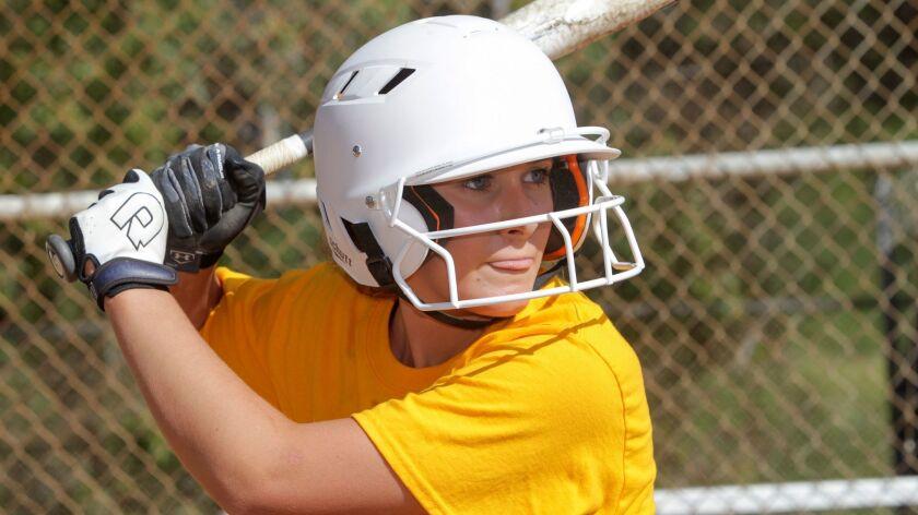 El Camino High School in Oceanside softball player Chelsea Tholen. photo by Bill Wechter