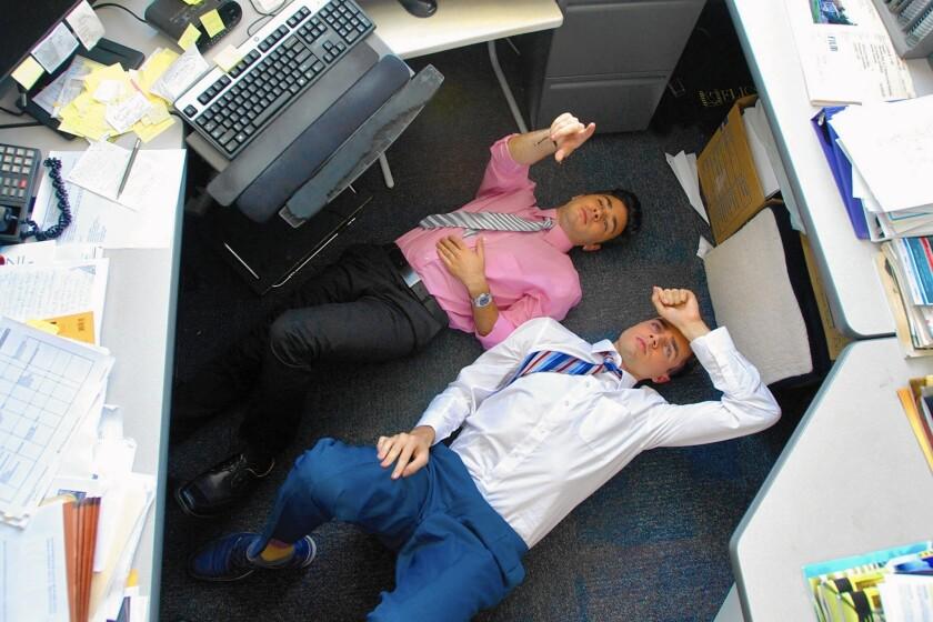 Jefferson (Grant Rosenmeyer, left) and Curtis (Reid Ewing) ponder their millennial world in film.