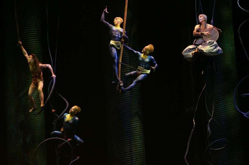 """Performers in a scene from Cirque du Soleil's """"Ka"""" at the MGM Grand Resort in Las Vegas."""