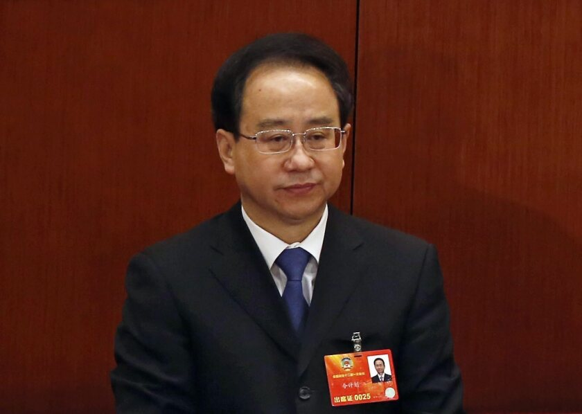 Ling Jihua, once an aide to former Chinese president Hu Jintao, attends the closing of the People's Conference in Beijing in March 2013.